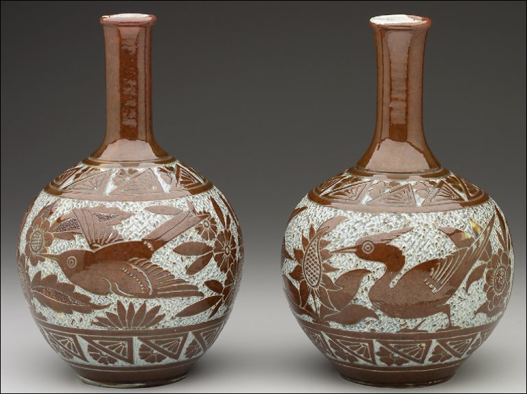 Pair of vases with birds and flowers