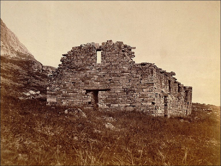 Arctic Regions: No. 24, A Nearer View of the Church, with a Portionof the Ruins of the Wall, and also aRound Tower a Short Distance from the Church