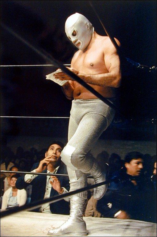 Untitled (Masked Wrestler Reading Letter)