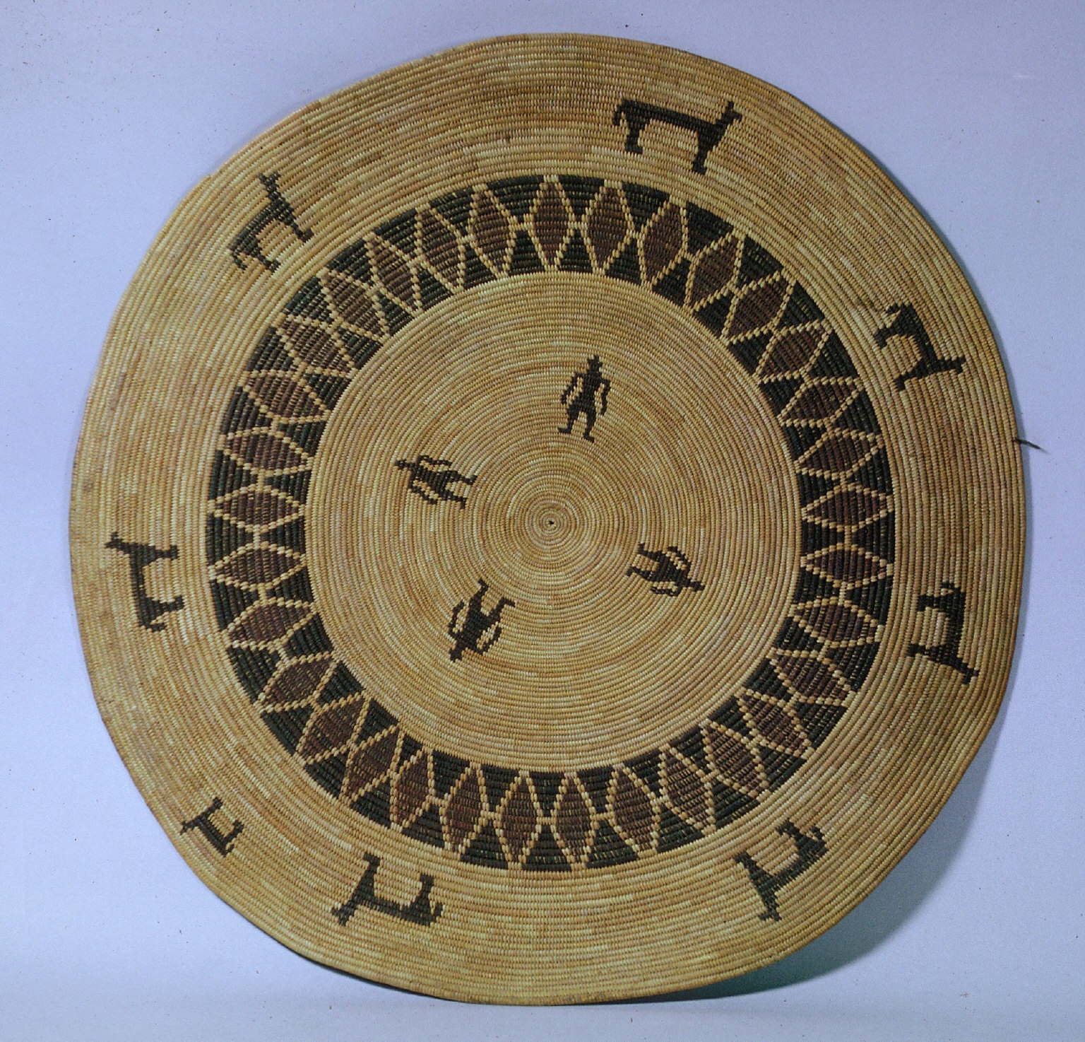 """Gambling tray flat; four pairs each: zig-zag rows of triangles, standing figures; 12 """"X's"""""""