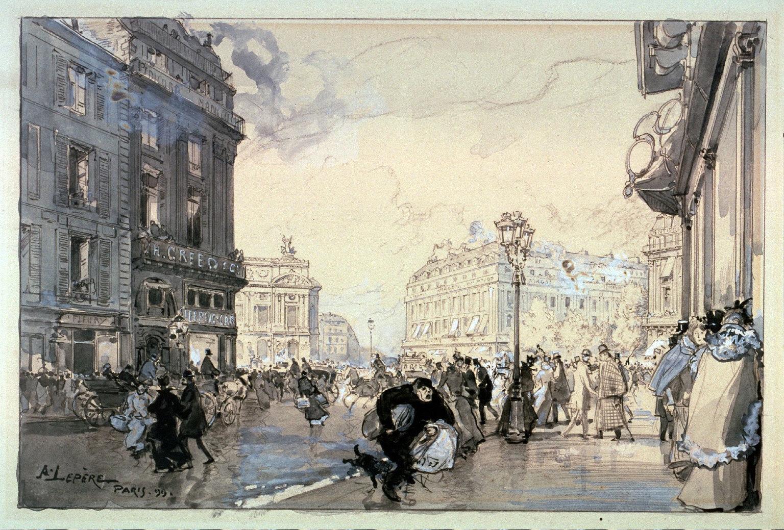 Brouillard (Fog), study for the introductory illustration for the chapterEffets de brouillard: Paris-Londres, on page 134 of the book, Paysages et coins de rue by Jean Richepin (Paris: 1900)