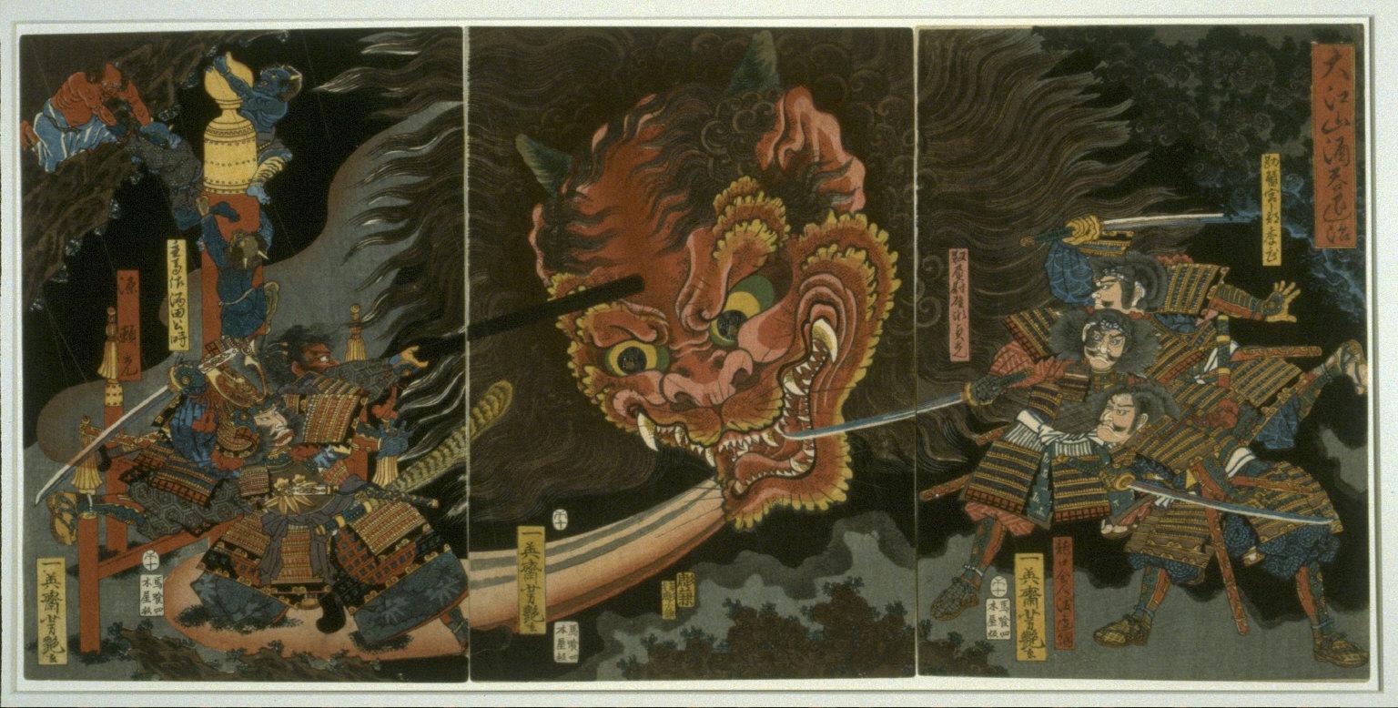 Kintoki and his Companions Attack Shutendoji