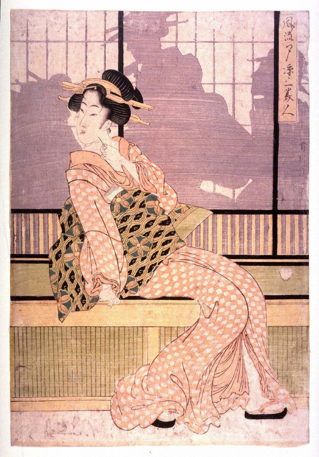 Furyu yusuzumi sanbijin (Three elegant women enjoying the evening cool)