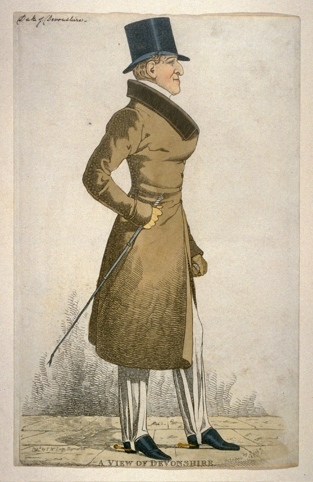 """Caricature (full figure) of William, Sixth Duke of Devonshire - """"A View of Devonshire"""""""