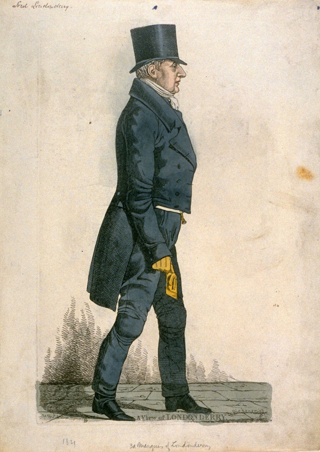 """Caricature (full figure) of Third Marquis of Londonderry - """"A View of Londonderry"""""""