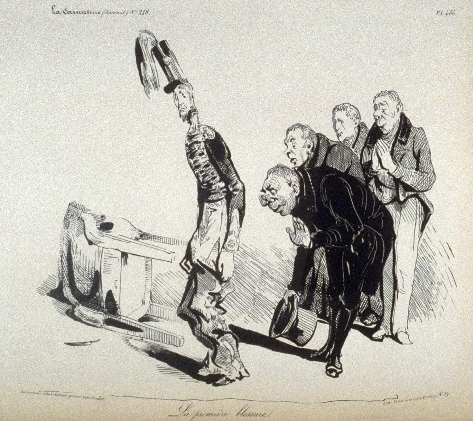 La première blessure!, pl. 455 from La Caricature (Journal) No. 218, published 8 January 1835