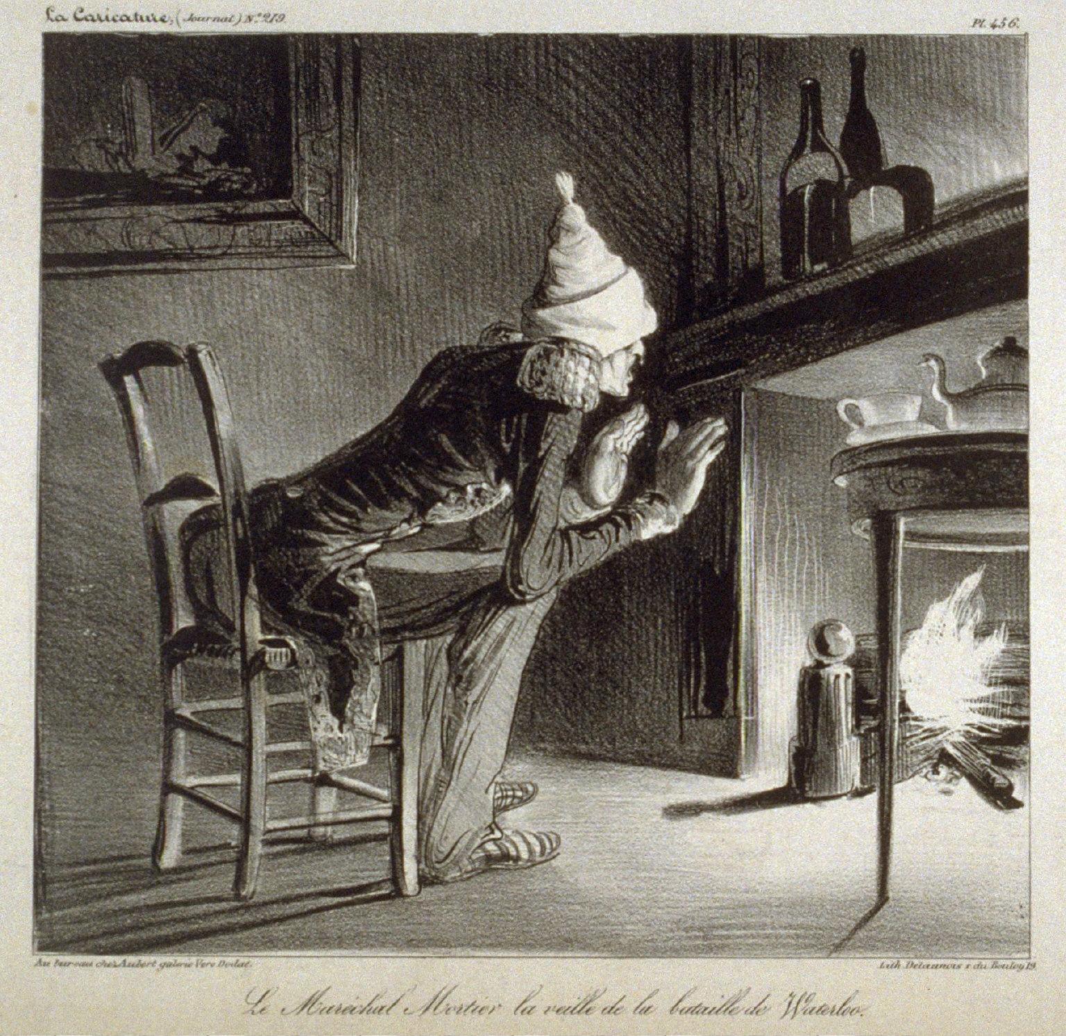 Le Maréchal Mortier la veille de la bataille de Waterloo., pl. 456 from La Caricature (Journal) No. 219, published 15 January 1835