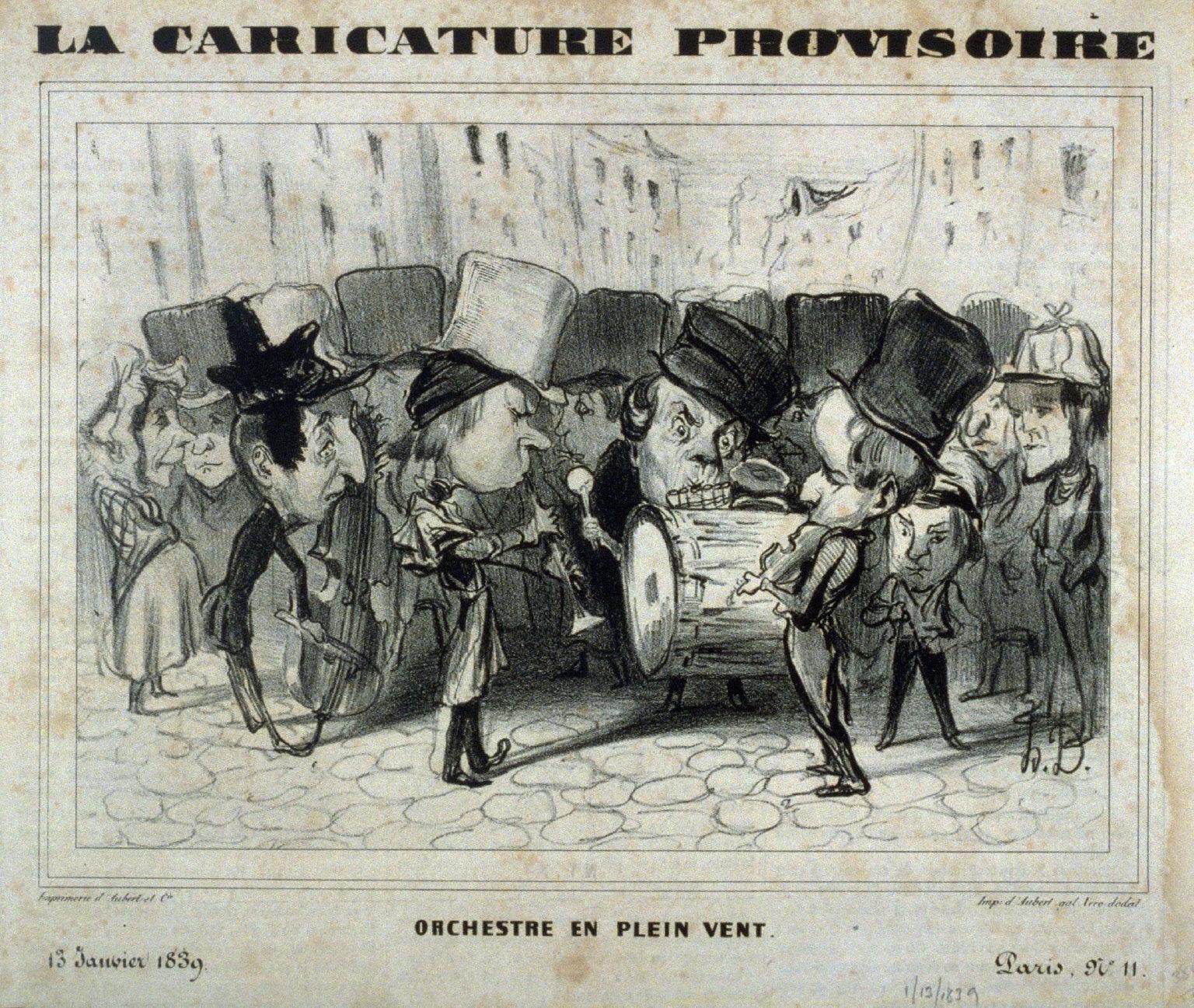 Orchestre en plein vent published in La Caricature 13 January 1839
