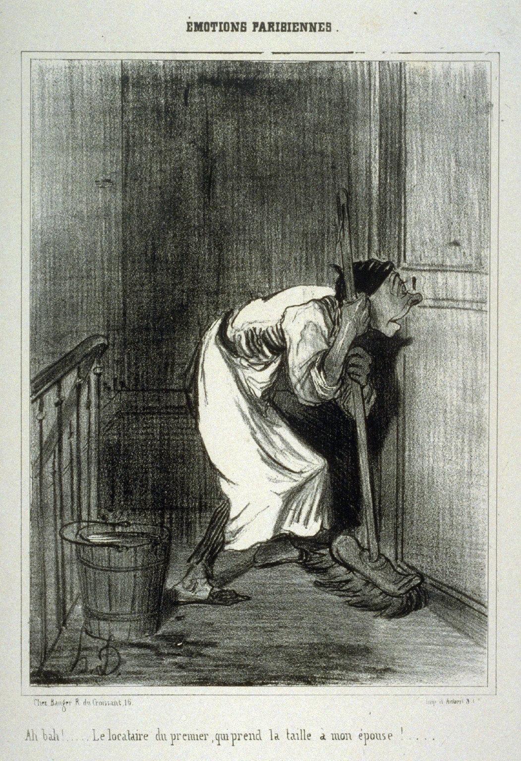 Ah bah! . . .... Le locataire du premier, qui prend la taille … mon 'pouse!..., (no. 20) from the series MOTIONS PARISIENNES., published in Le Charivari 18 December 1839
