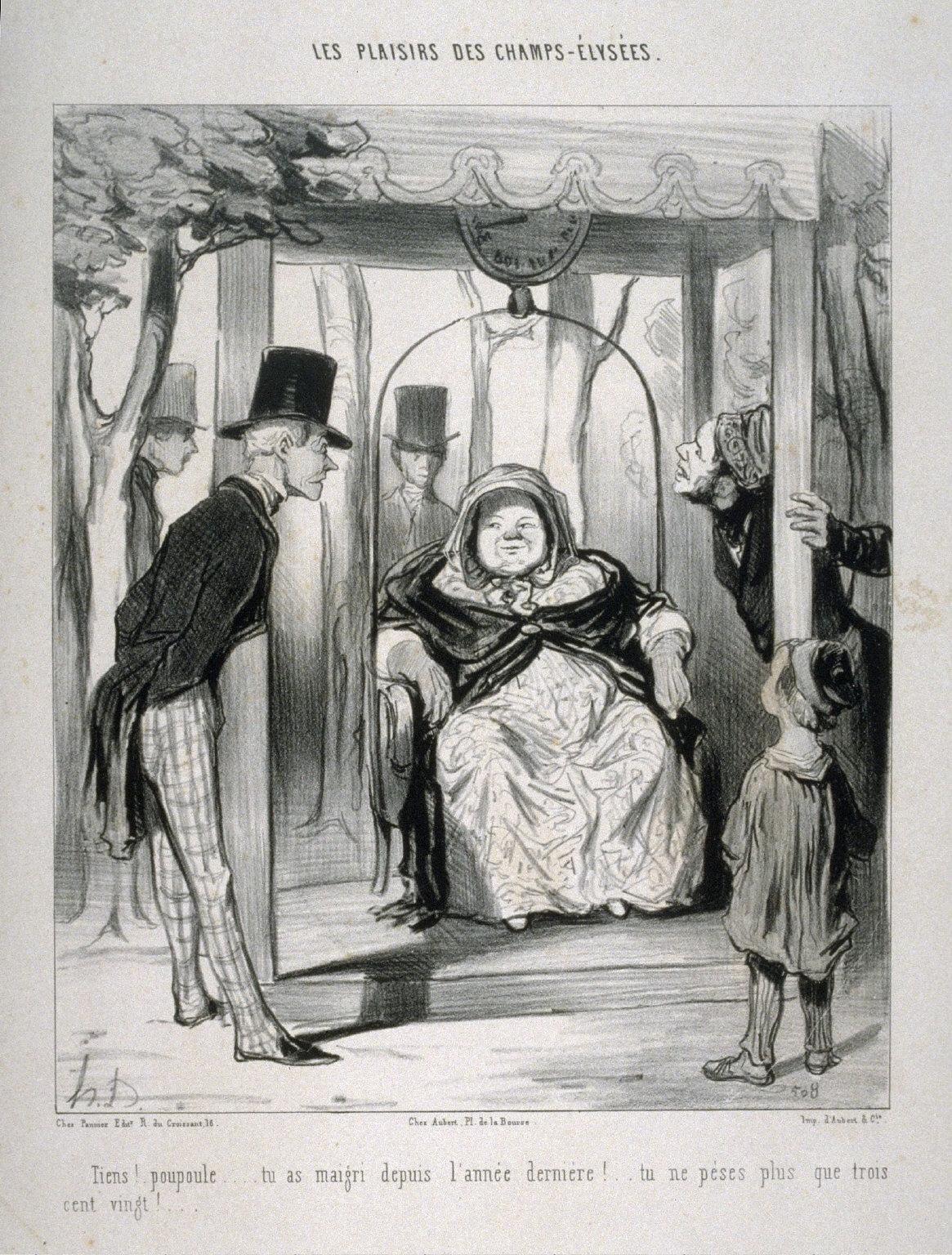 Tiens!. poupoule....tu as maigri depuis lannée dernière!.. tu ne pèses plus que / trois cent vingt!..., from the series LES PLAISIRS DES CHAMPS-ÉLYSÉES, published in Le Charivari 20 August 1843
