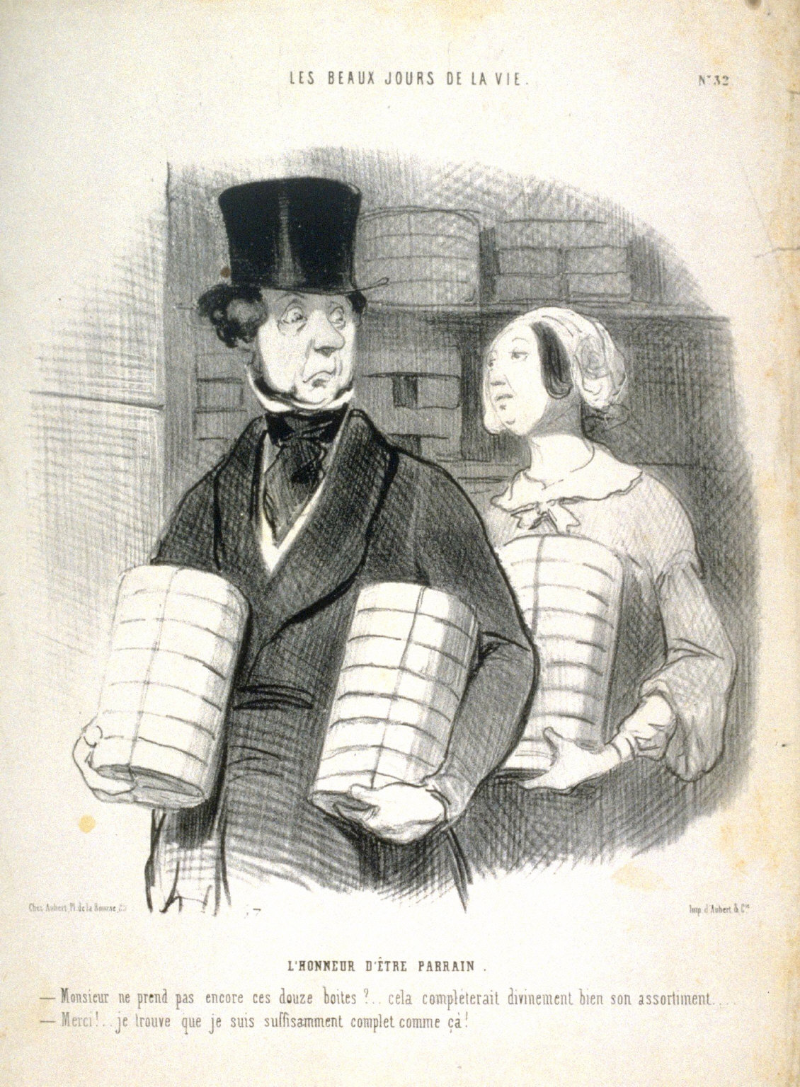 LHONEEUR D?TRE PARRAIN, no. 32 from the series LES BEAUX JOURS DE LA VIE., published in Le Charivari 15 November 1844