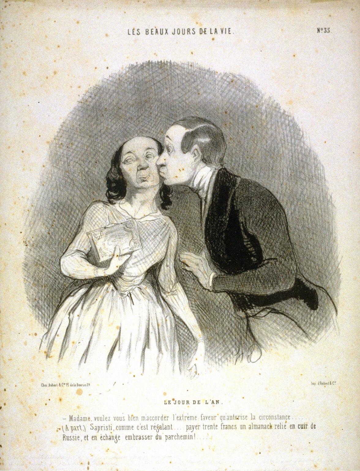 LE JOUR DE LAN, no. 35 from the series LES BEAUX JOURS DE LA VIE., published in Le Charivari 27 November 1844