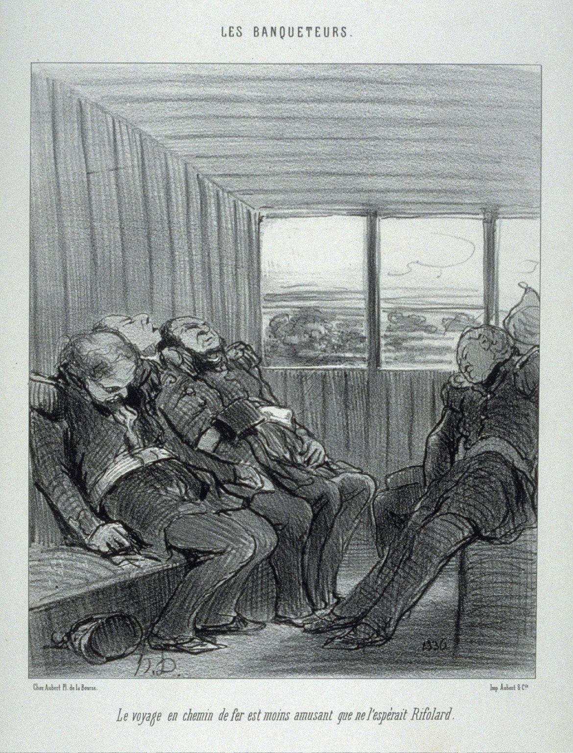 Le voyage en chemin de fer est moins amusant que ne l'espèrait Rifolard. no. 2 from the series Les banqueteurs