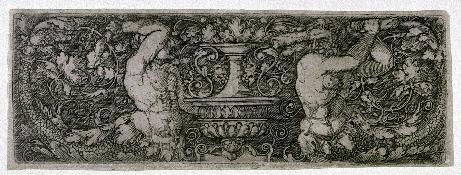 Ornament with two tritons
