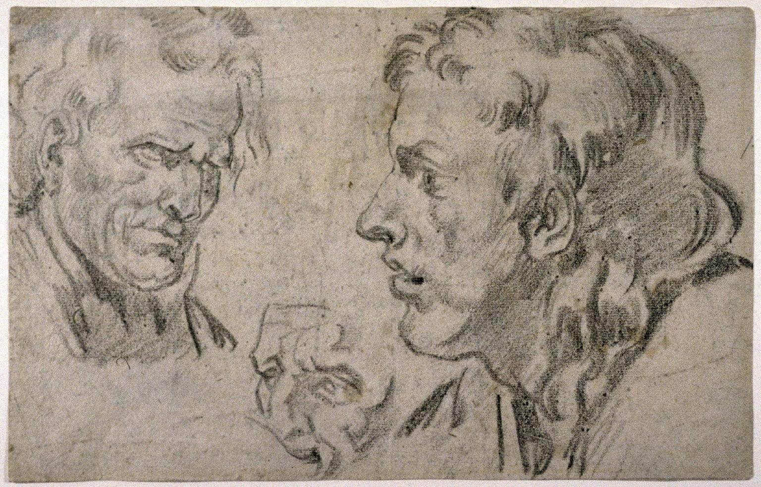 Recto:Three Male Heads Verso:Compositional Idea