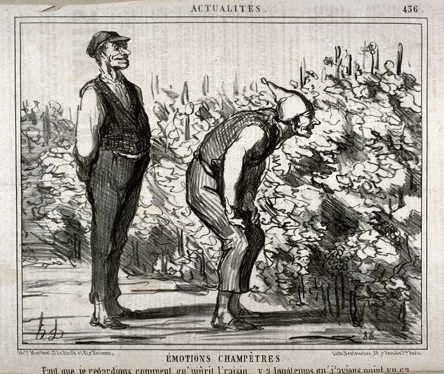 Emotions champêtres. Faut que je regardions comment qu'mûrit l'raisin y a longtemps qu'j'avions point vu ça. no. 436 from the series Actualités published in Le Charivari 10 September 1857