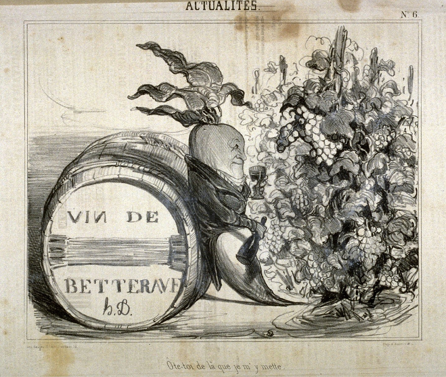 Ote-toi de là que je my mette.. no. 6 from the series Actaulités, published in Le Charivari 28 September 1839