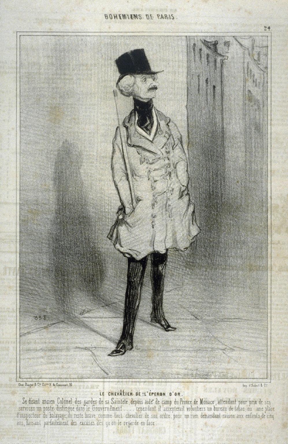 LE CHEVALIER DE LÉPERON DOR, no. 24 from the series BOH?MIENS DE PARIS, published in Le Charivari 27 February 1842