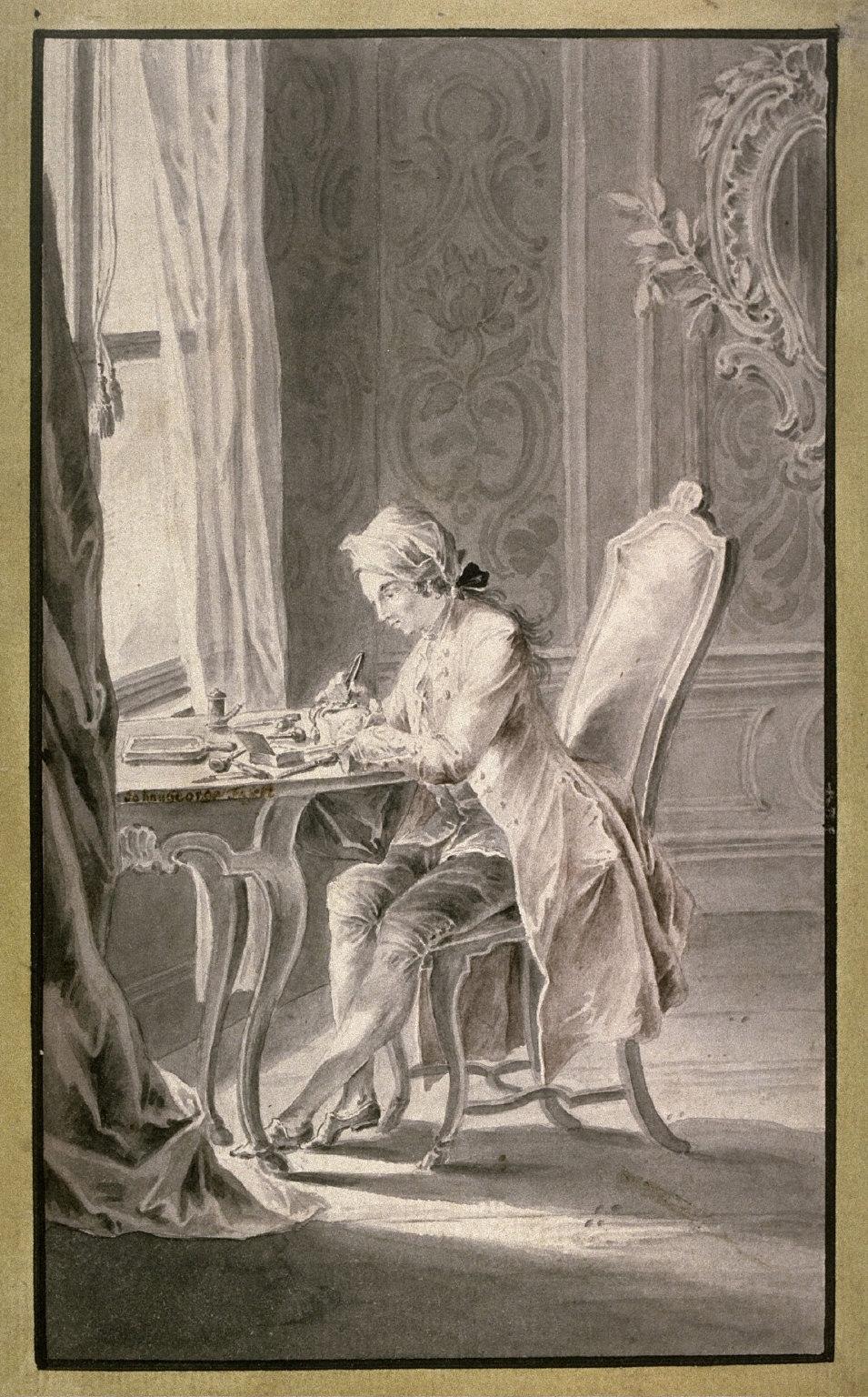A Gentleman Engraving a Plate