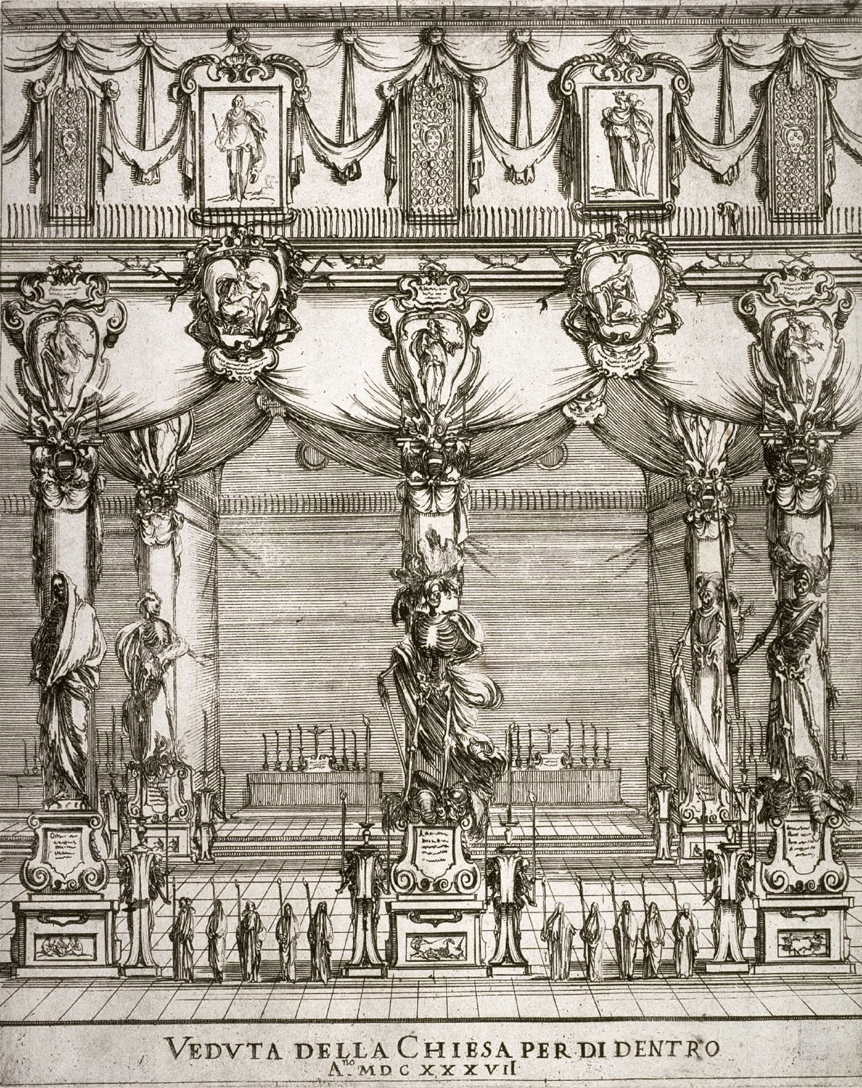 Interior of the Church of S. Lorenzo, Florence, from the series Funeral of the Emperor Ferdinand II