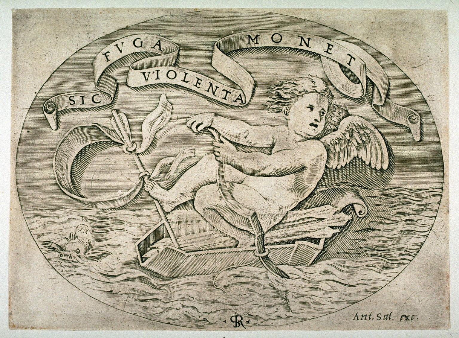 Eros Escaping by Sea, after the engraving by Marco Dente da Ravenna, after Raphael