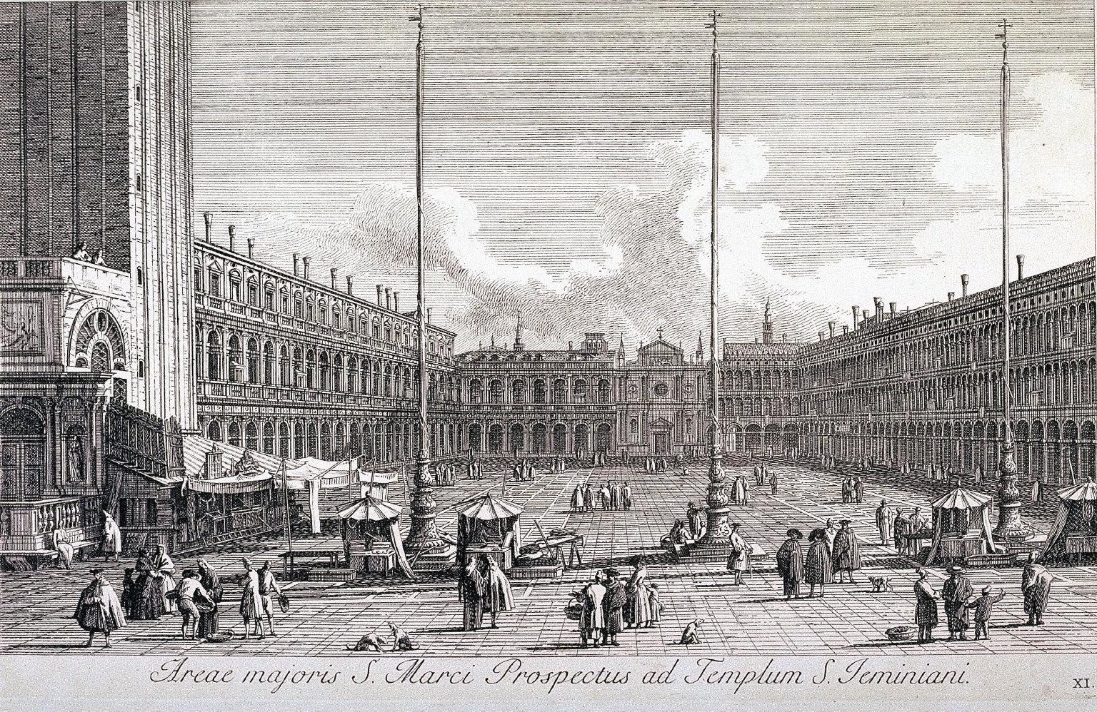 Piazza San Marco, looking towards S. Geminiano; pl.11 from Part III of the series Urbis Venetiarum Prospectus Celebriores Ex Antonio Canal...