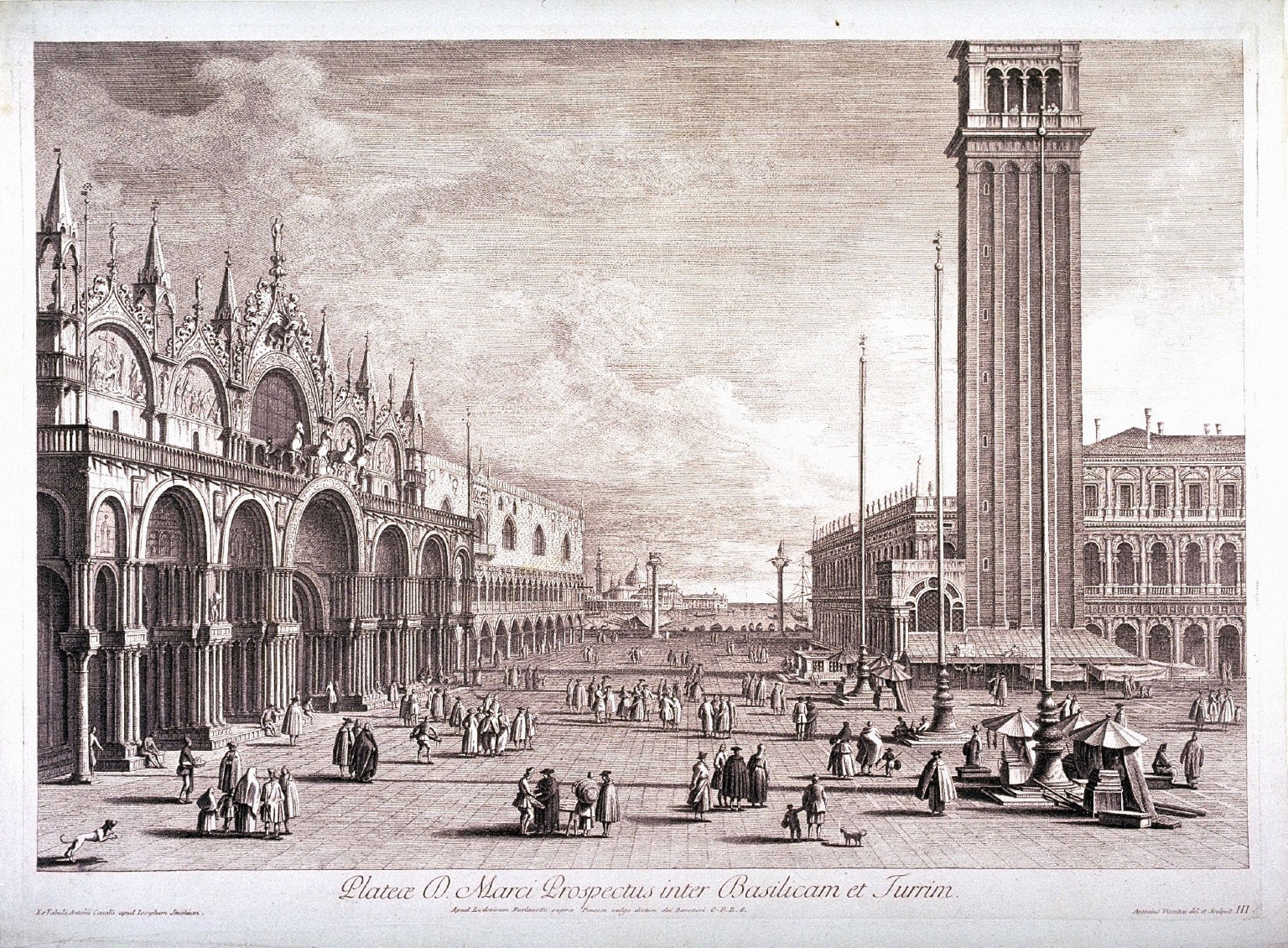 Piazza San Marco, View Between Church and Tower, pl. III from a series of four scenes of the Piazza after Canaletto