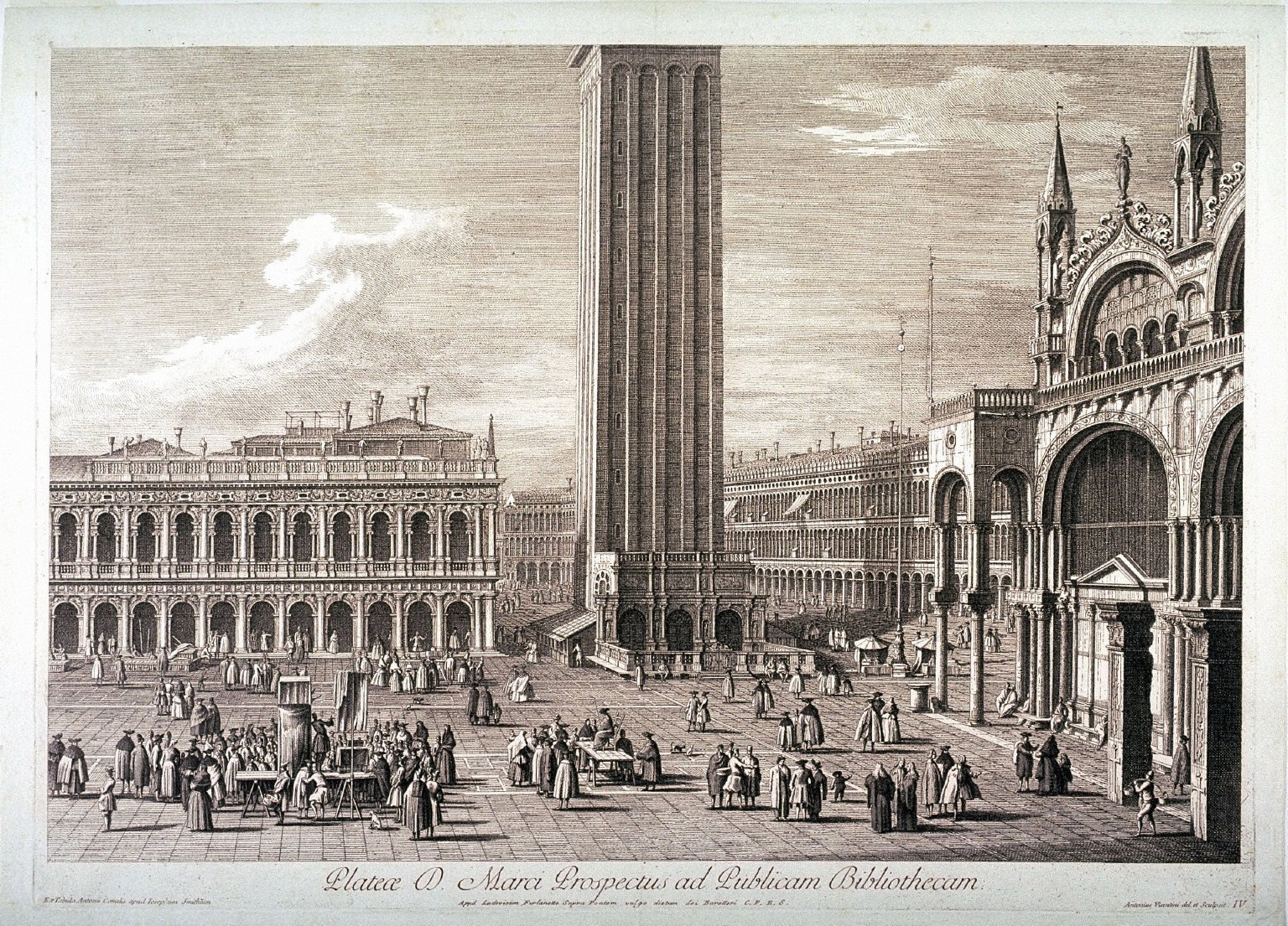 Piazza San Marco, View of the Public Library, pl. IV from a series of four scenes of the Piazza after Canaletto