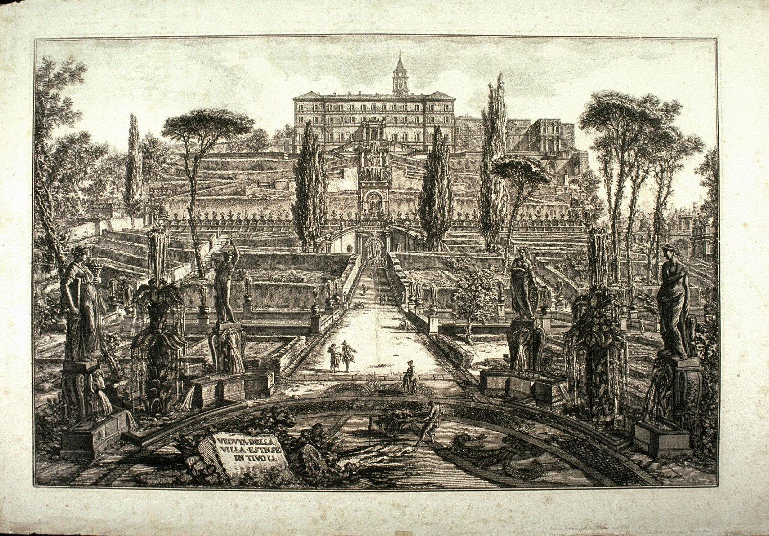 Veduta della Villa Estense in Tivoli (View of the Villa d'Este in Tivoli) from Vedute di Roma (Views of Rome)