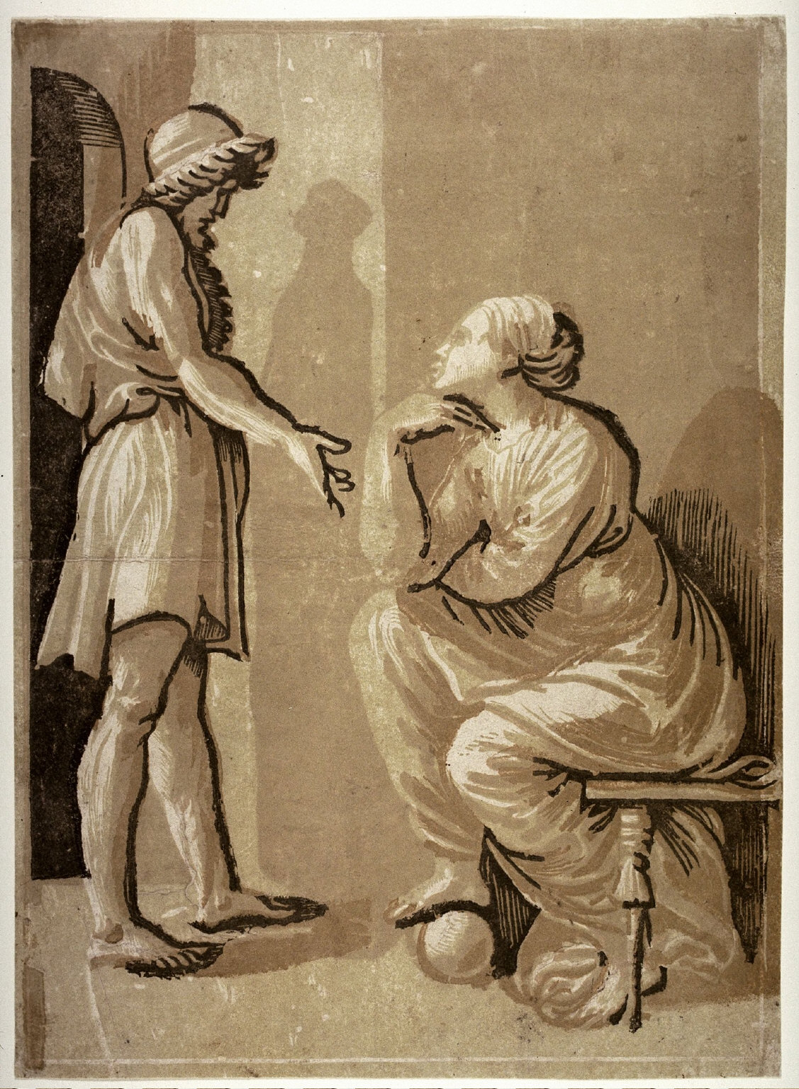 Raphael and his Mistress, after a chiaroscuro woodcut by Ugo da Carpi