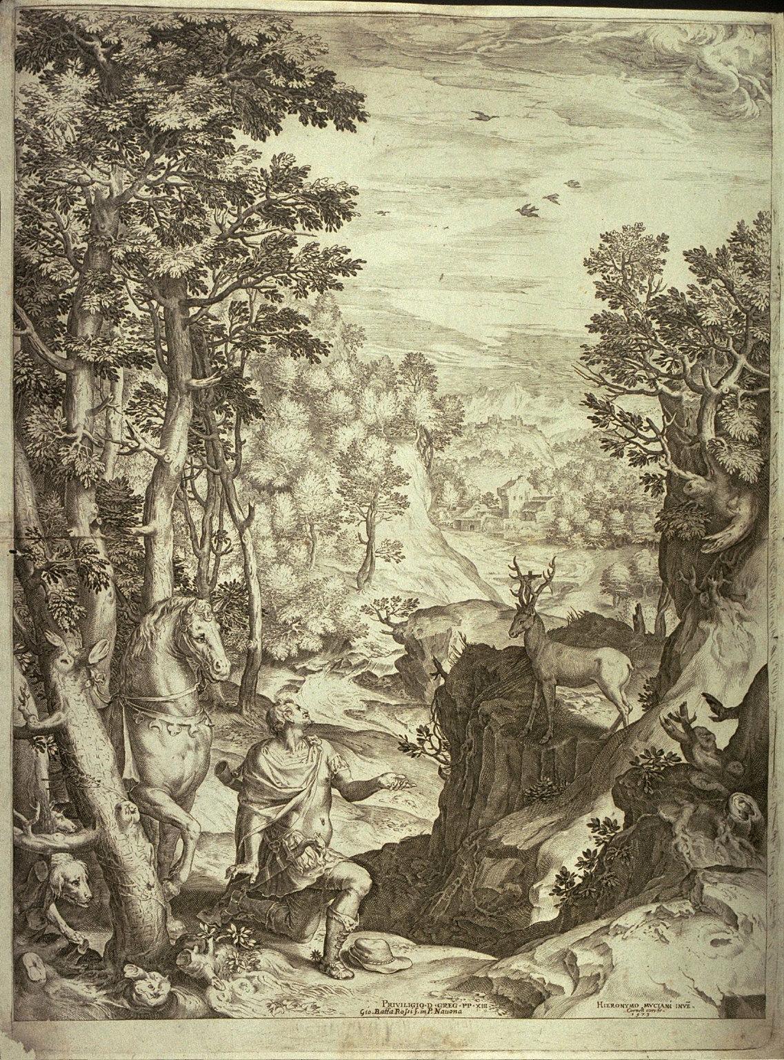 St. Hubert in a large landscape