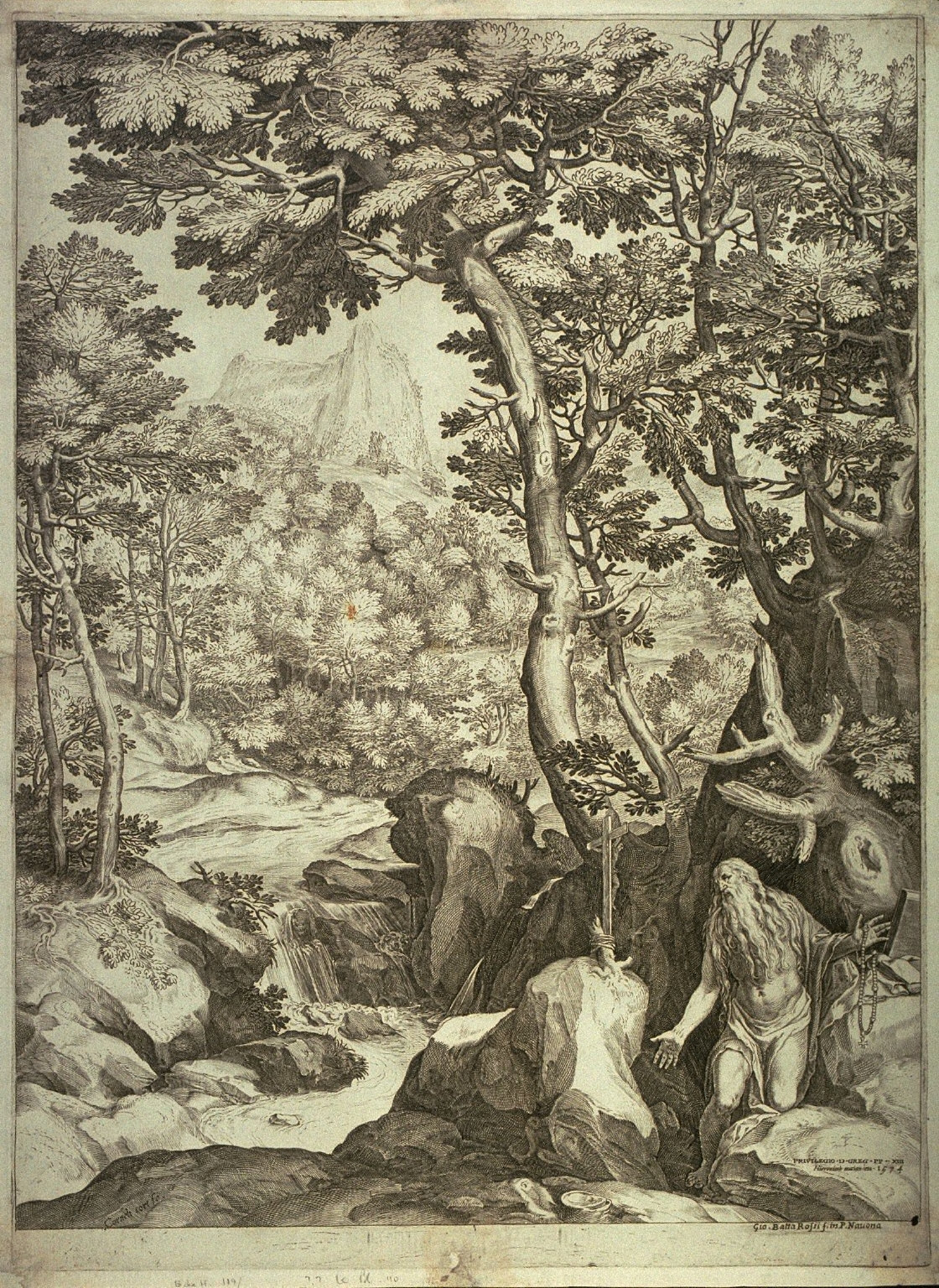 St. Onuphrius, penitent, in a large landscape