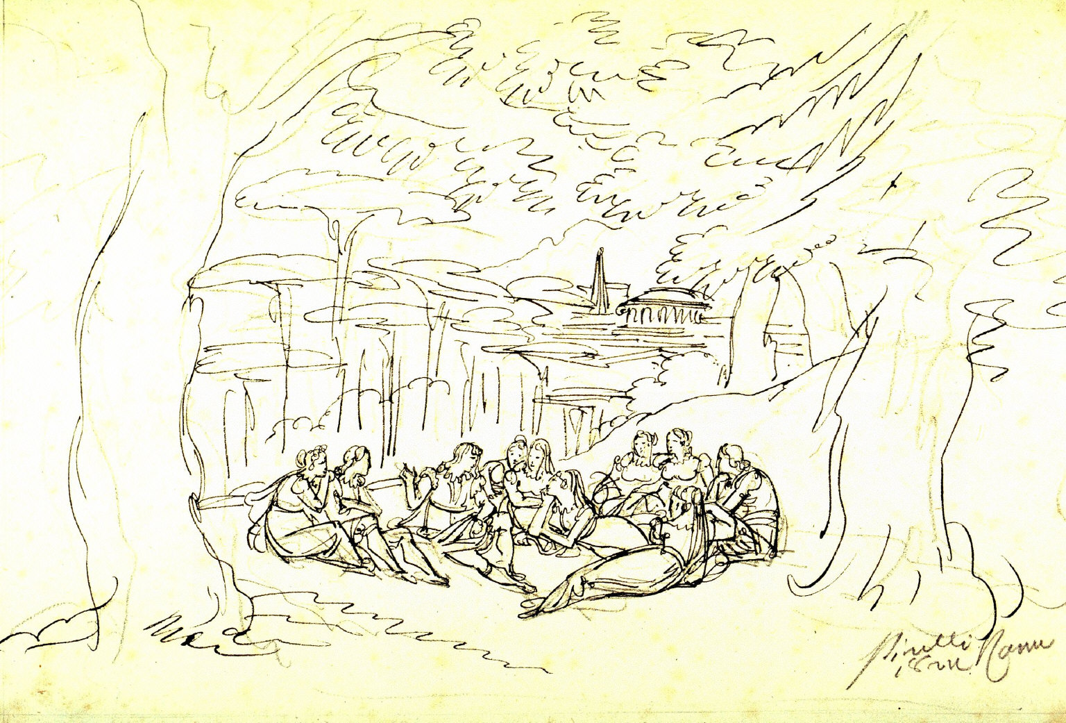 Figures Listening to a Tale, Ensconced in a Classical Landscape