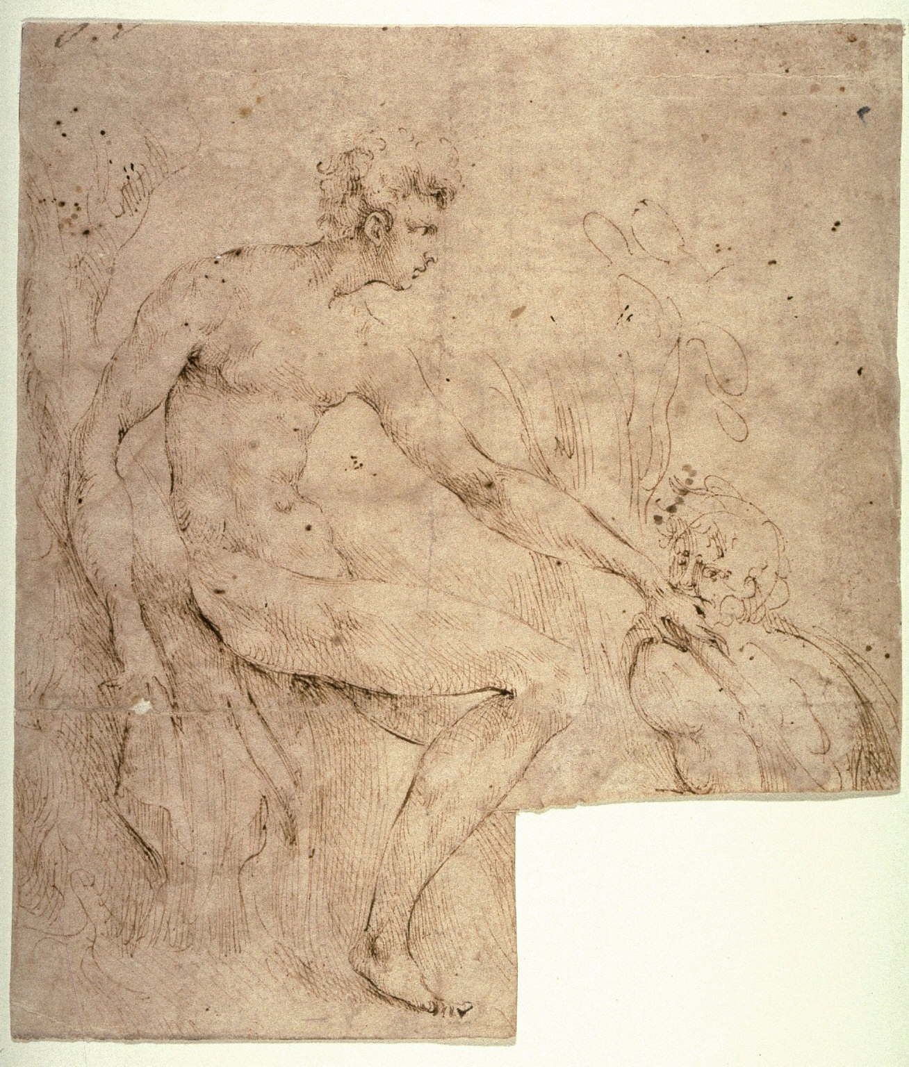 Recto:Two Male Figures in a Landscape Verso: Studies for Ornamental Designs and a Male Head