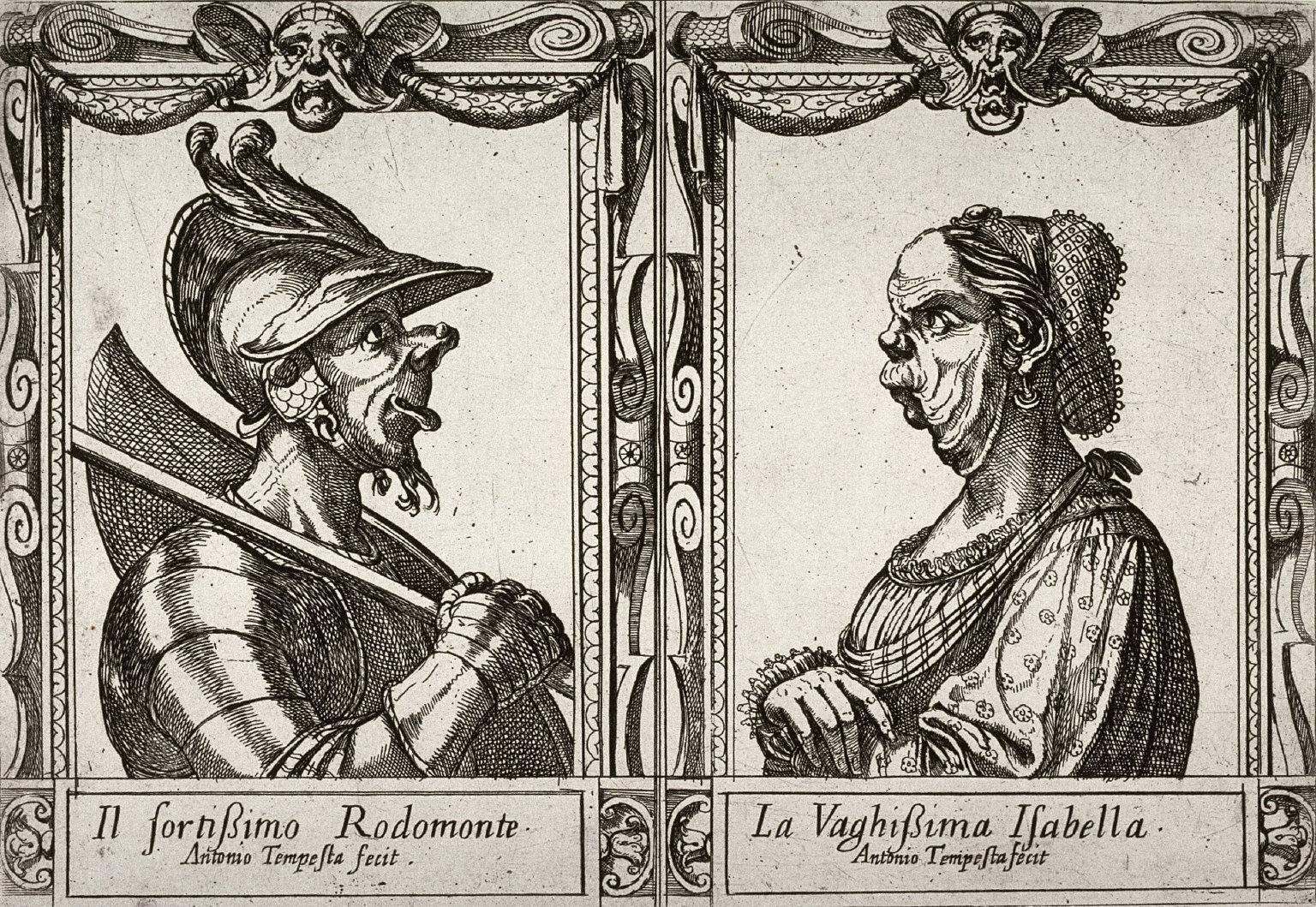 Il Fontissimo Rodomonte and La Vaghissima Isabella, from the series based on Ariosto's Orlando Furioso