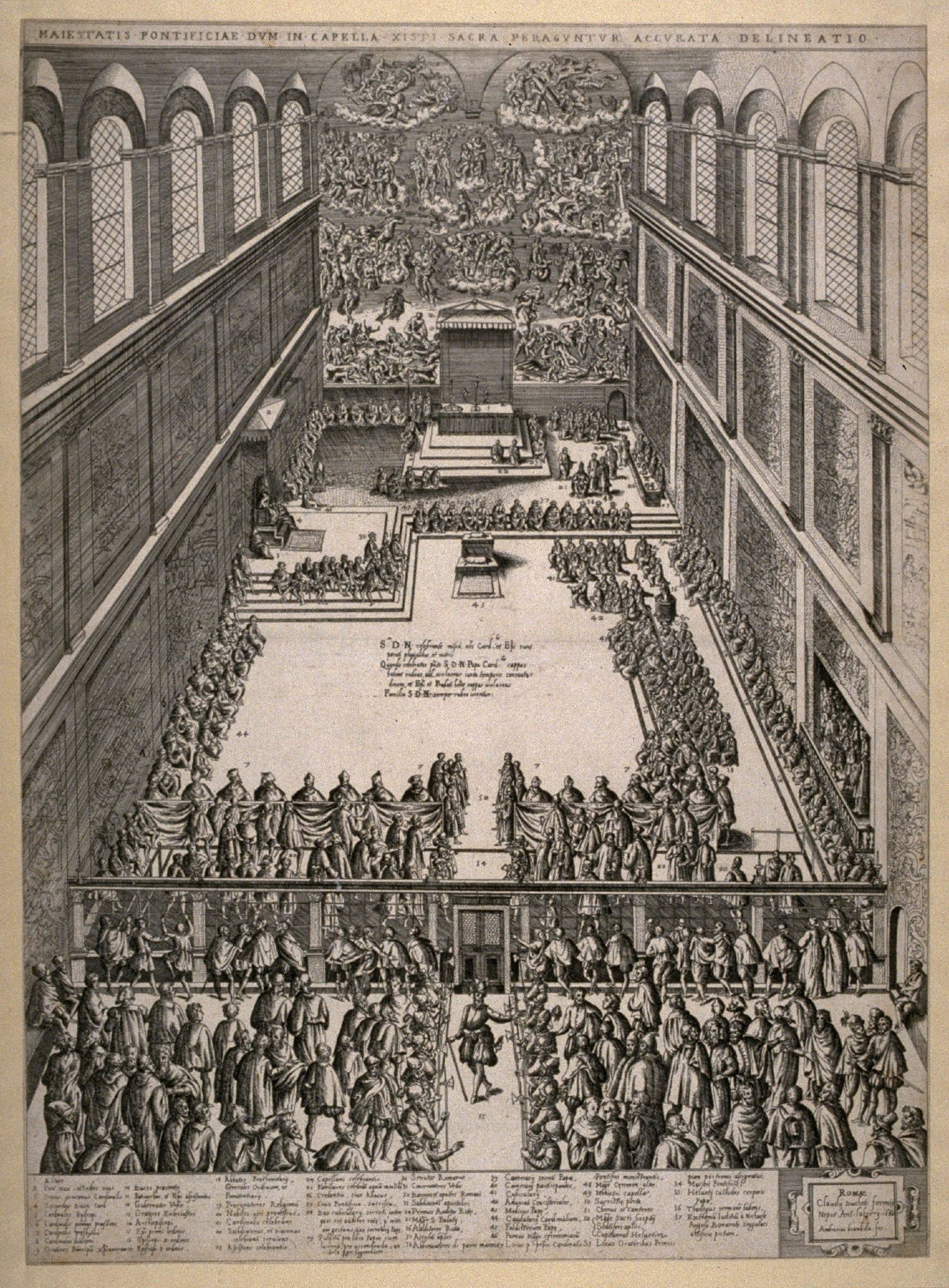 A Consistory Showing the Interior of the Sistine Chapel, after the engraving by Lorenzo Vaccari
