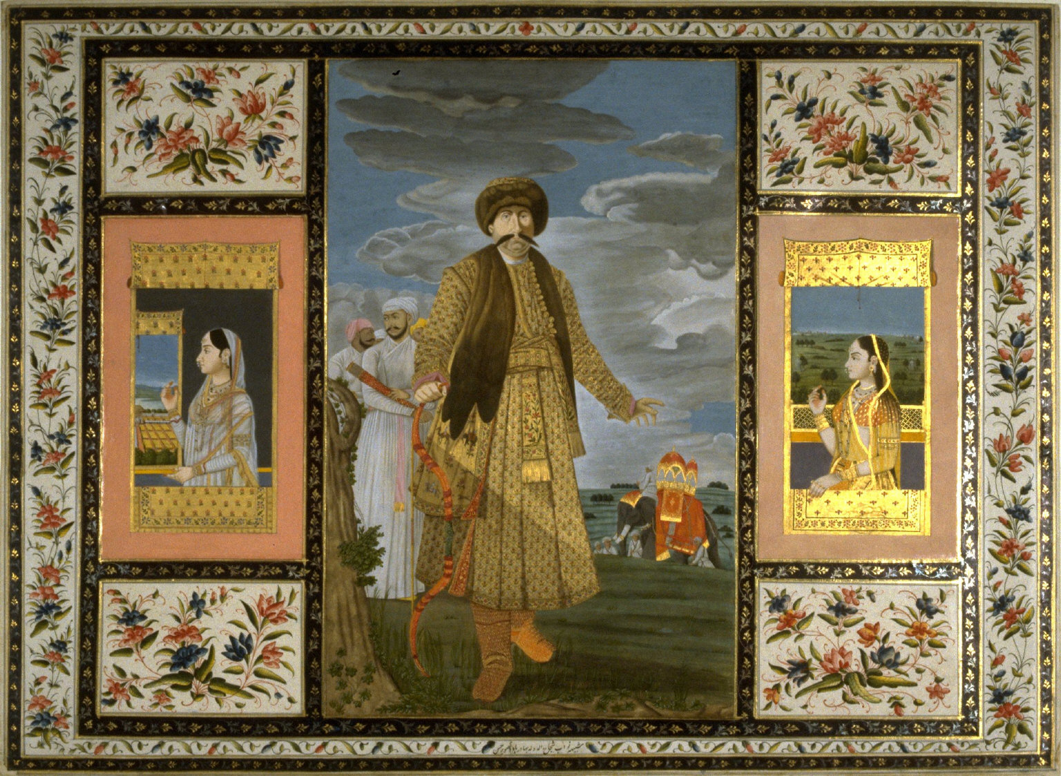 Portrait of Nawab Shuja-ud-Daula, after a portrait by Tilly Kettle, and Two Pictures of Beauty, a page from the Lady Coote Album