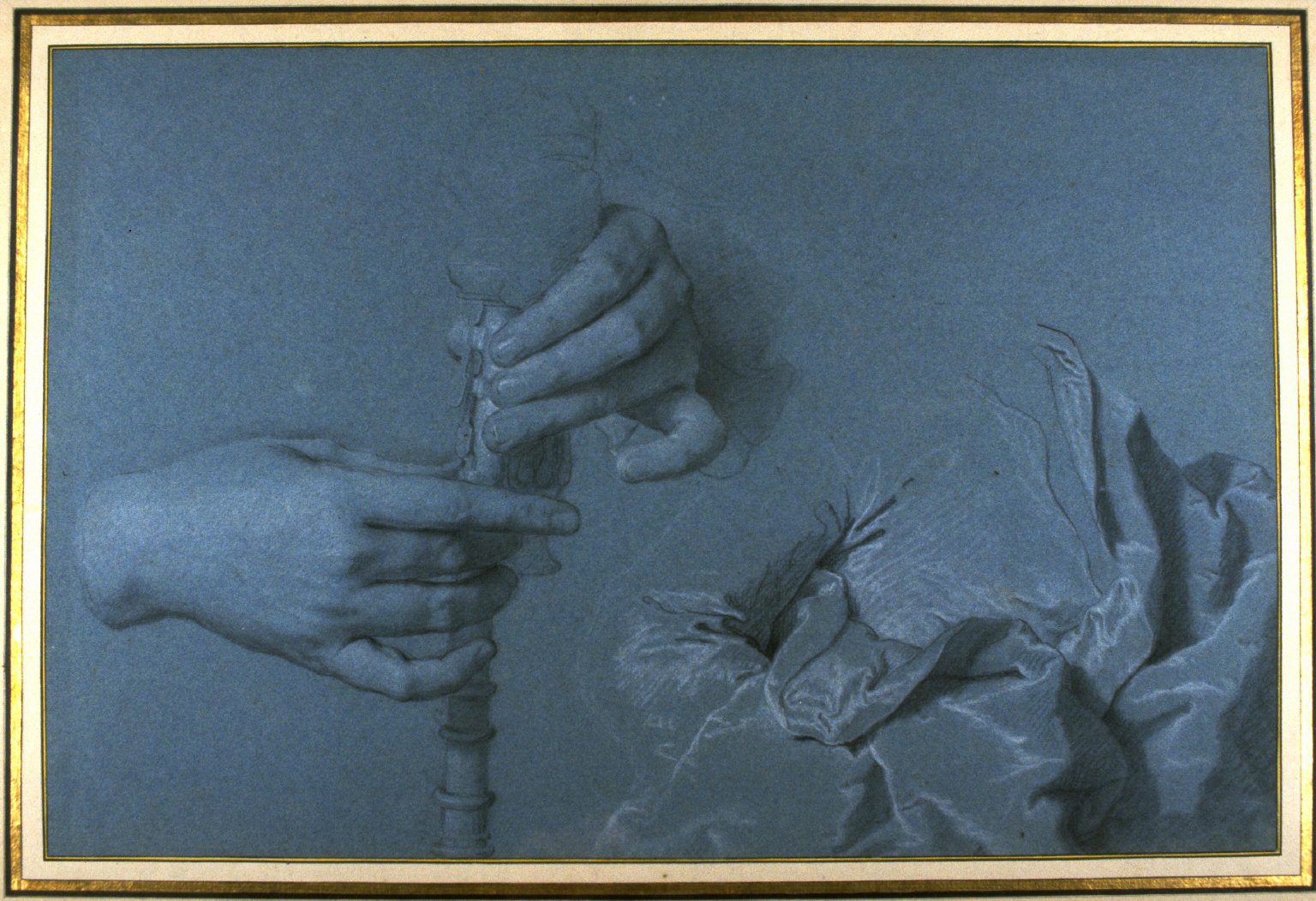Sheet of Studies of Hands Playing Bagpipes and Drapery