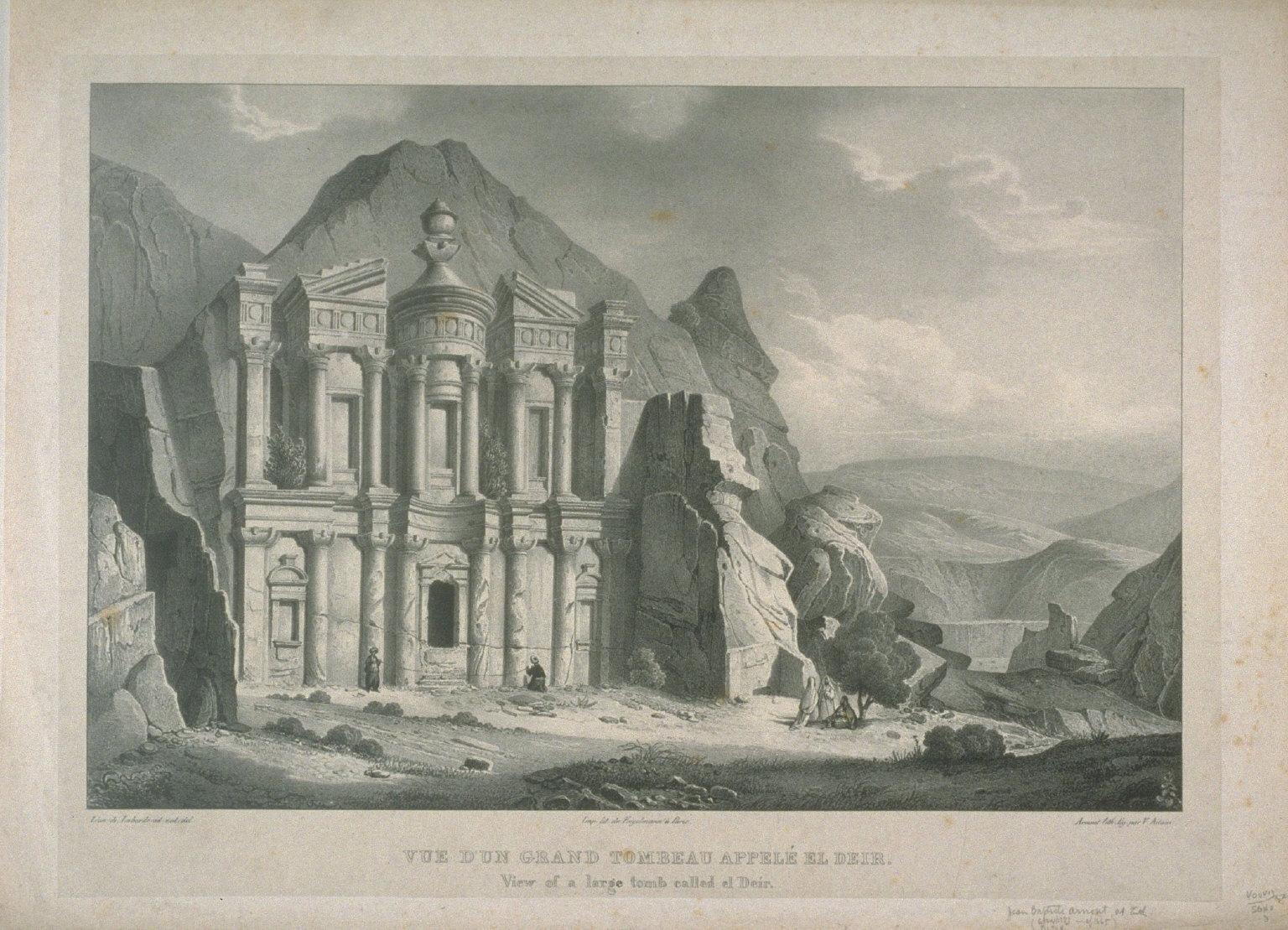 Vue d'un grand tombeau appele El Dier, Petra
