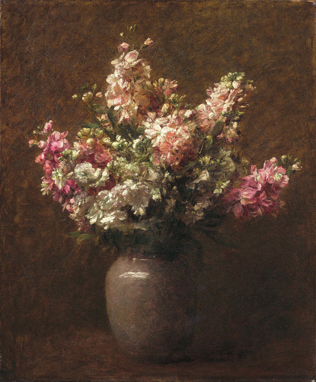 Still Life with Pink and White Stock
