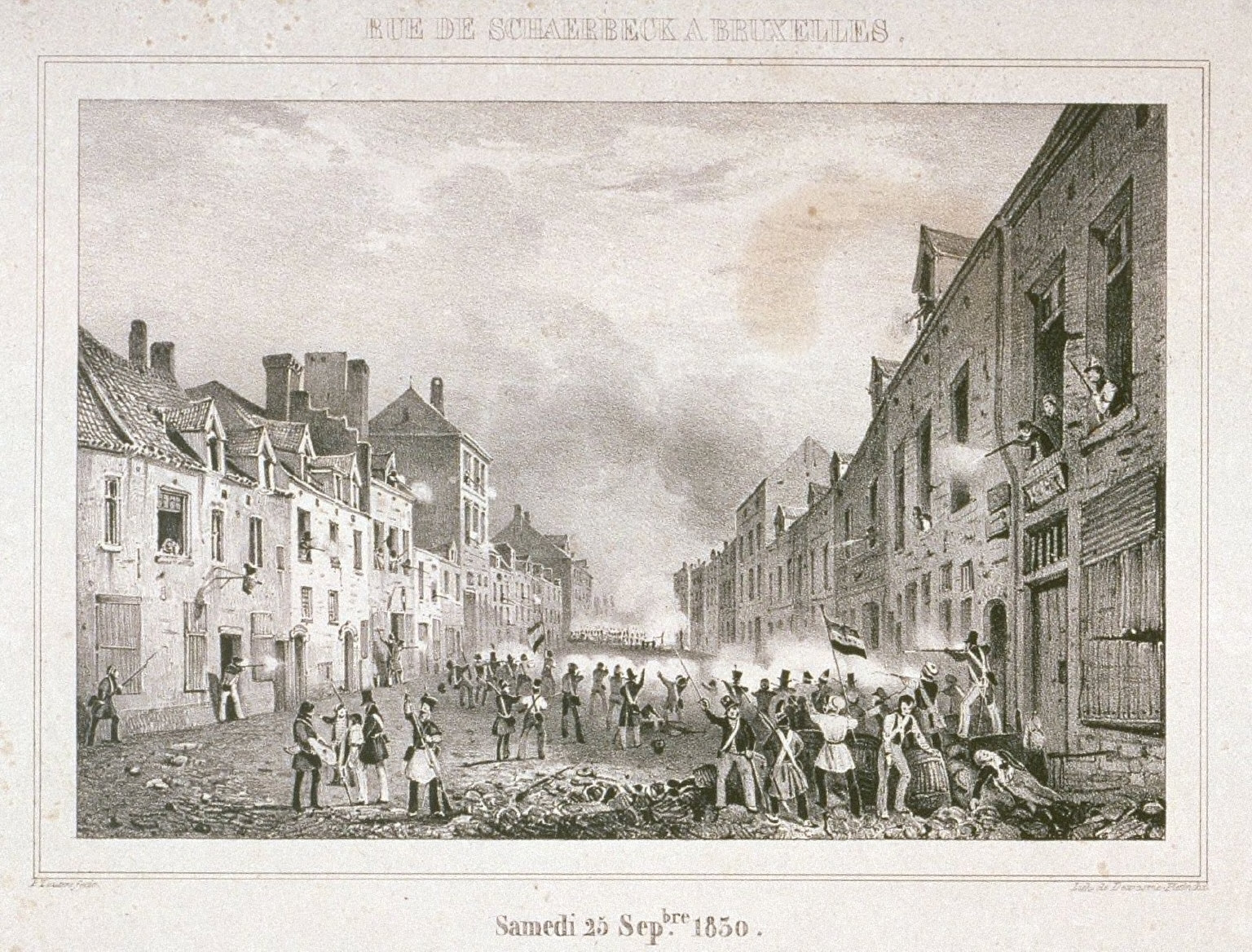One of four scenes of 1830 revolution in Brussels