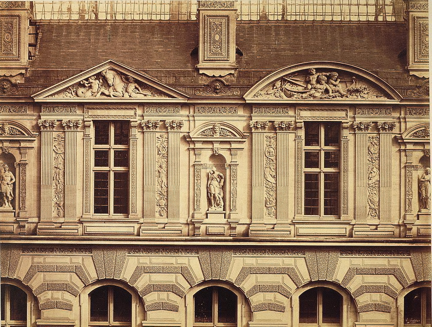 The Louvre, detail, windows of upper story