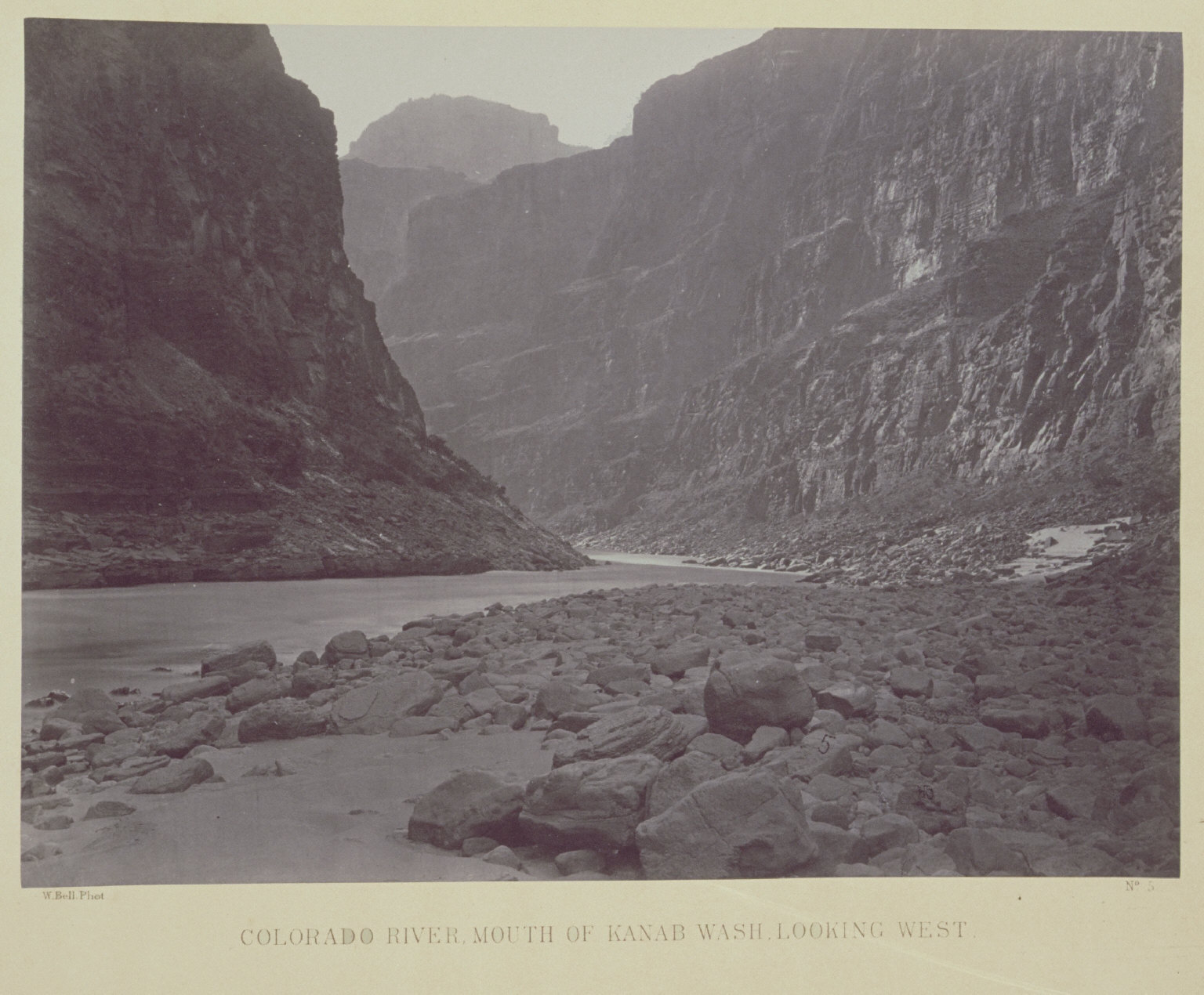 Colorado River, Mouth of Kanab Wash, Looking West.