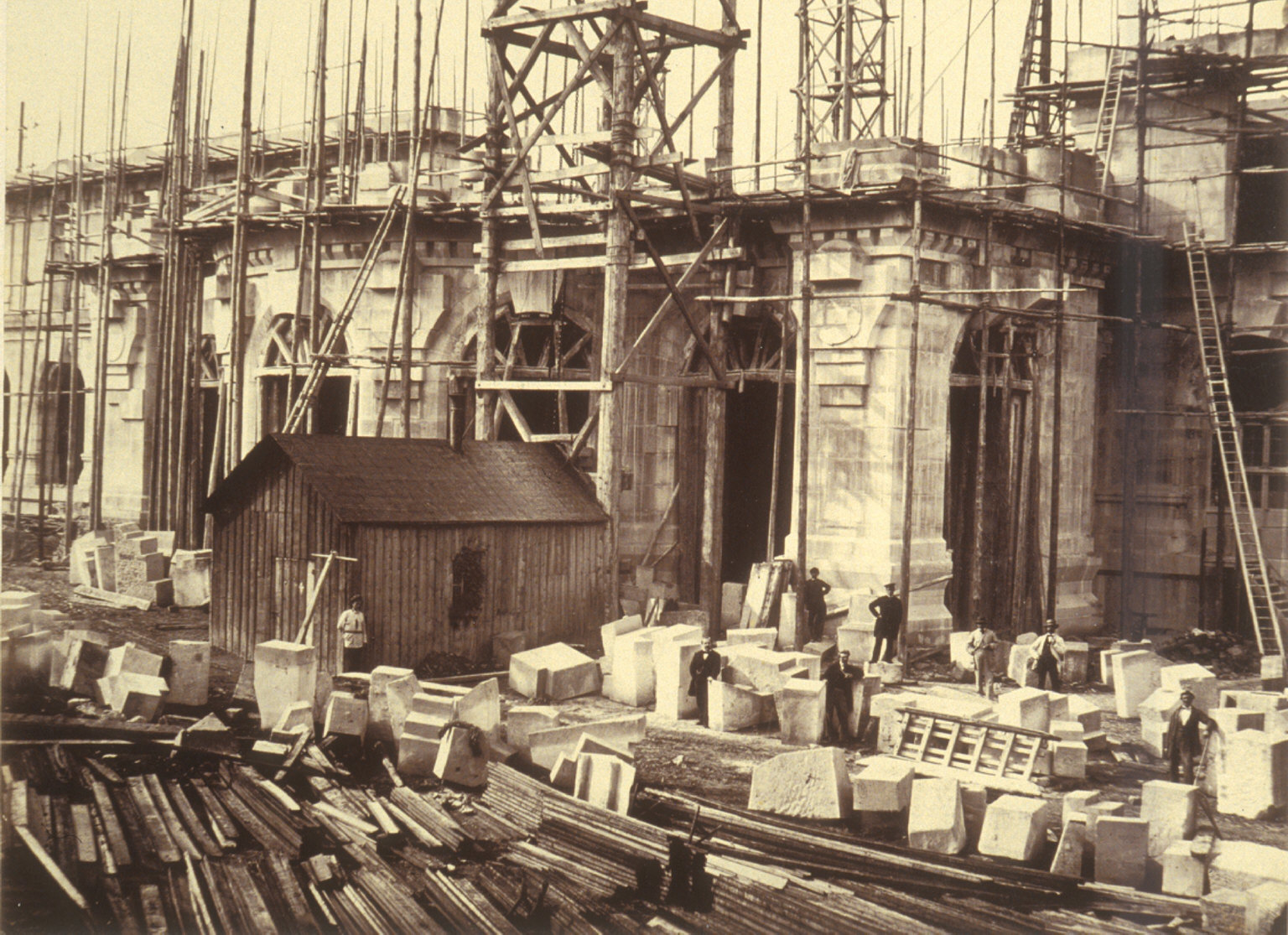 Stoneworkers in front of Paris Opera under construction