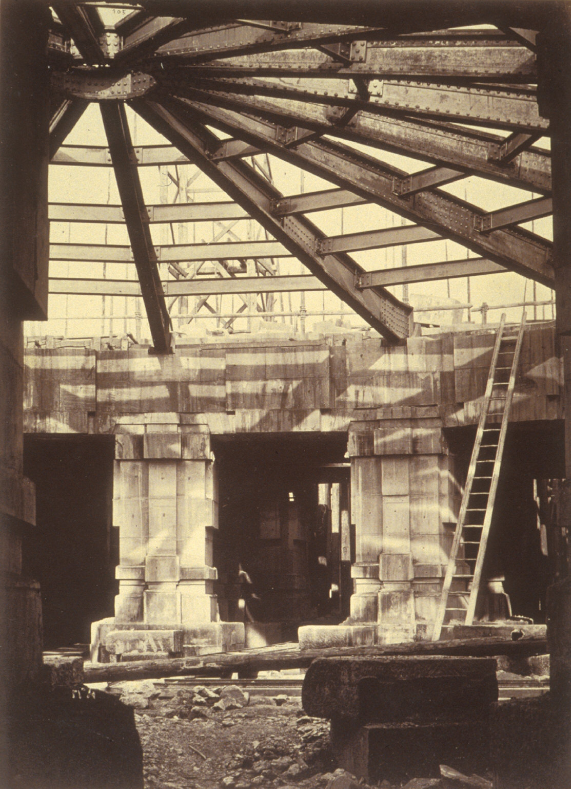 Steel girders and stone columns, Paris Opera construction
