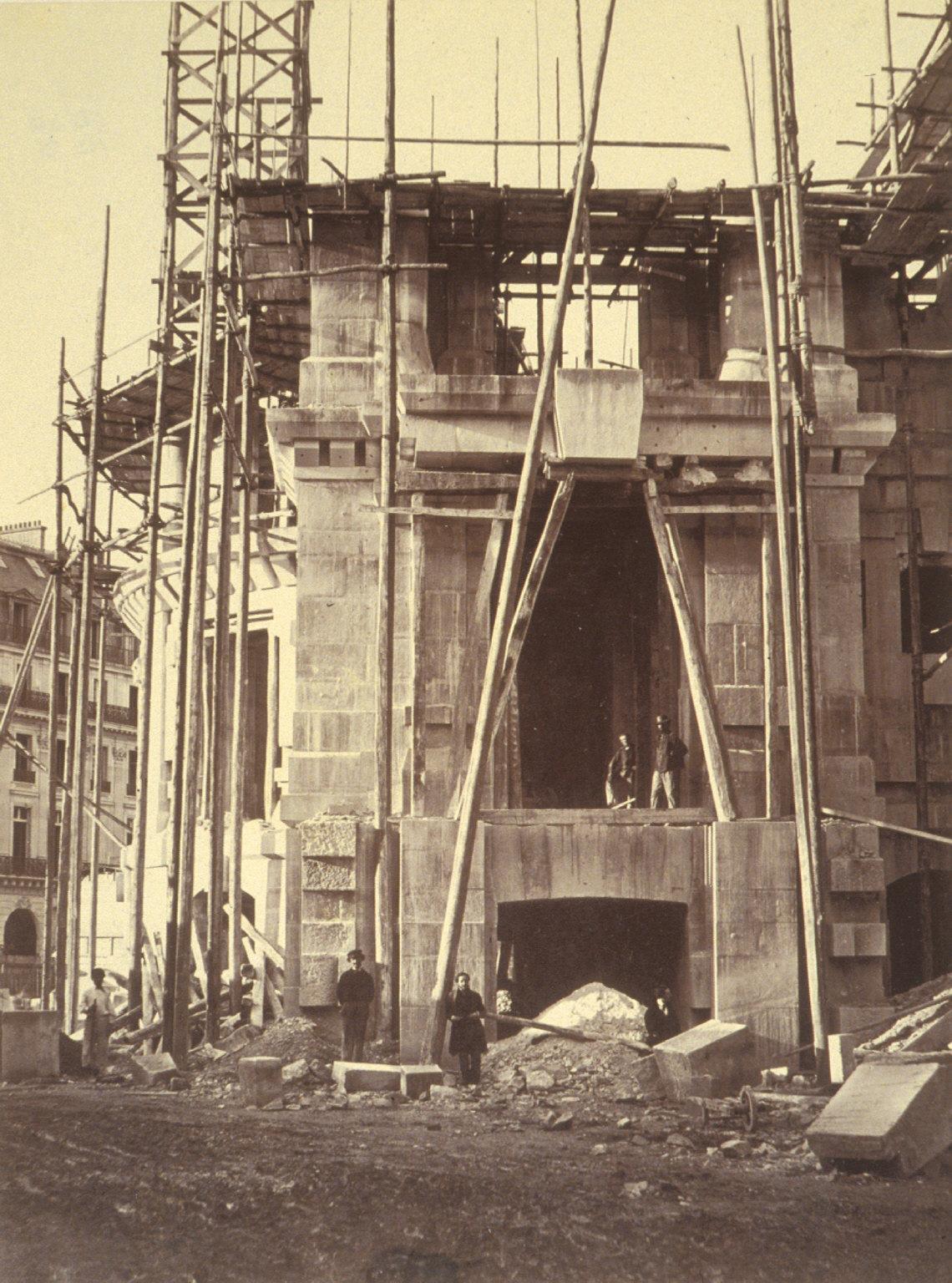 Scaffolding and stone columns, Paris Opera construction