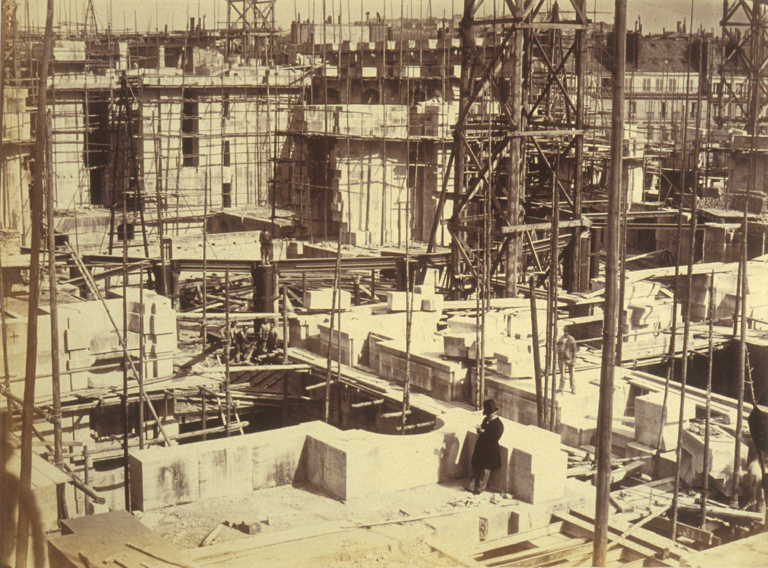 General view, construction of Paris Opera