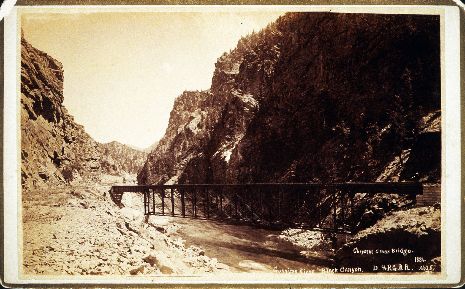 Chrystal Creek Bridge. Gunnison River, Black Canyon. D. & R.G.R.R.