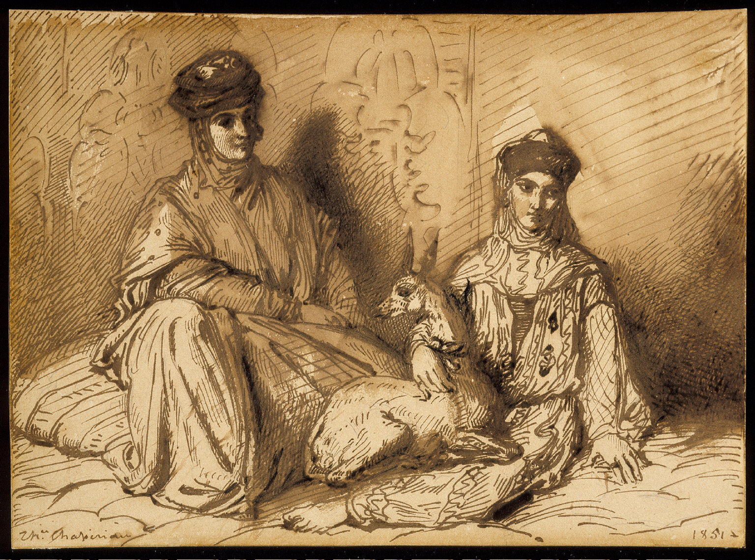 Arab Woman and Girl with a Gazelle
