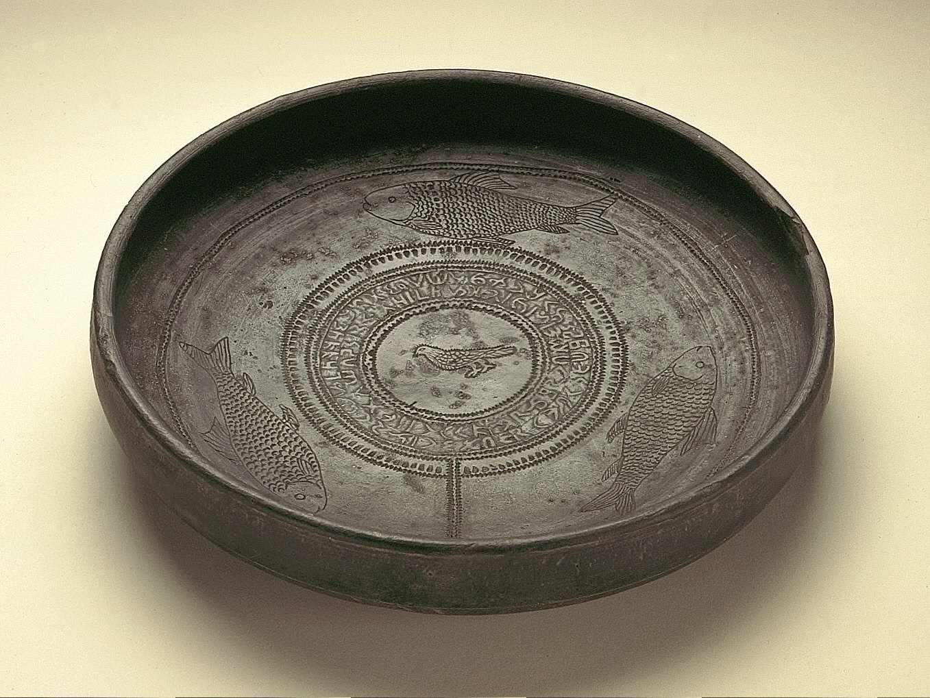 Inscribed Dish with a Fish-and-Bird Pattern